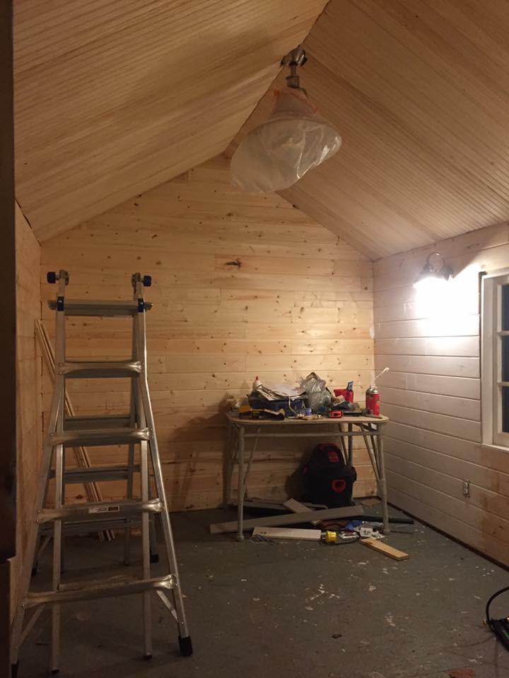 Ceiling beadboard slats getting laid in...